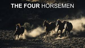The Four Horsemen just horses no riders with 4 Horsemen printed